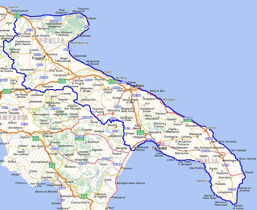 Cartina Della Puglia Turistica.Come Arrivare Puglia Autostrada Macchina Autobus Treno Ferrovia